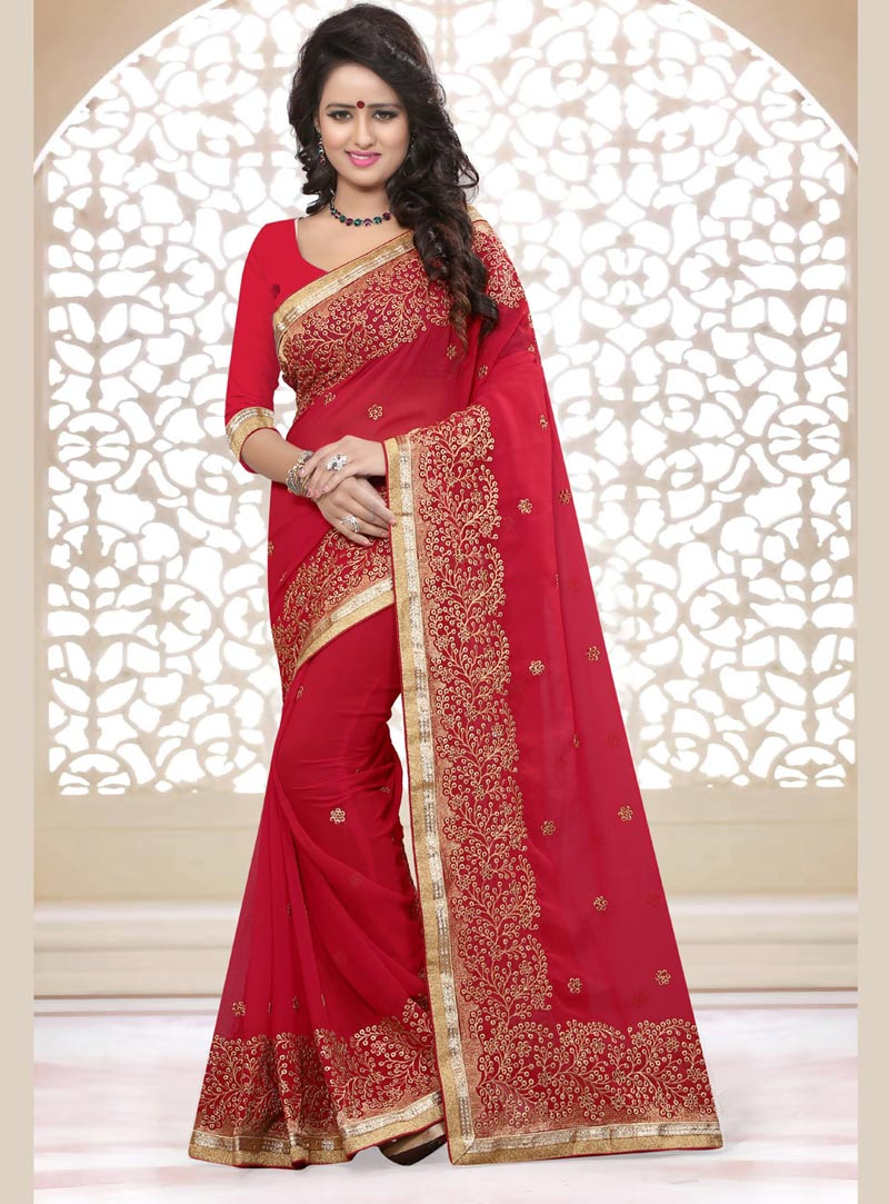 Magenta Georgette Saree With Blouse 75234
