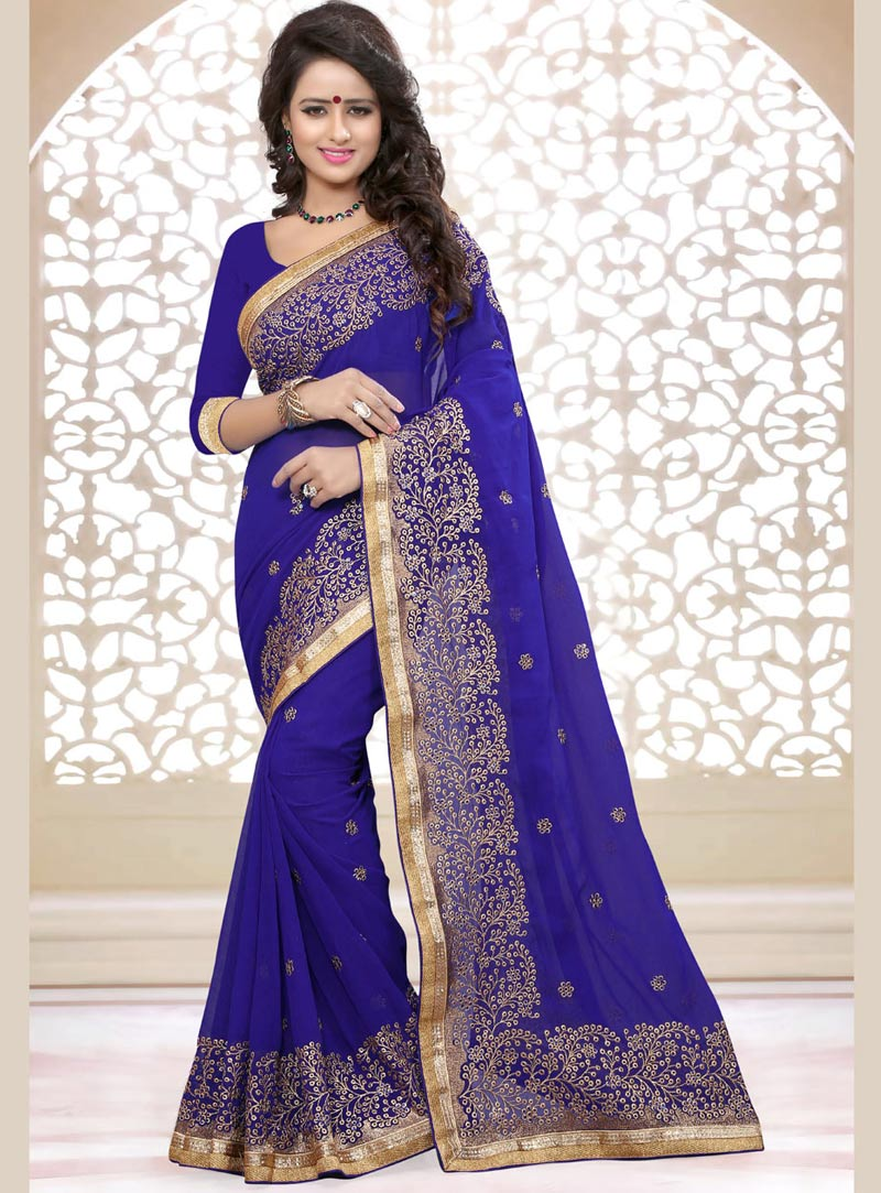 Blue Georgette Saree With Blouse 75235