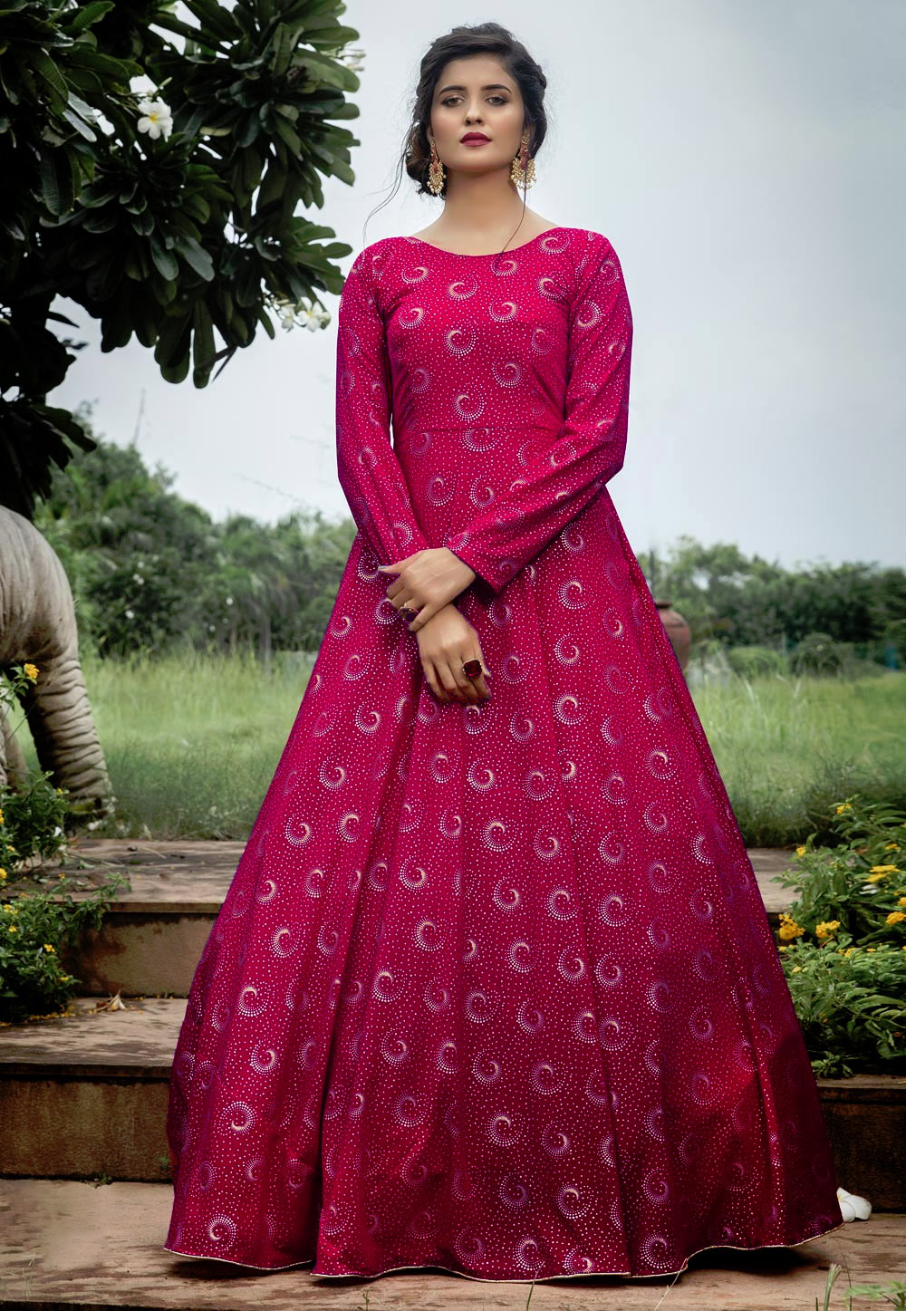 Pink Georgette Foil Print Gown 210324