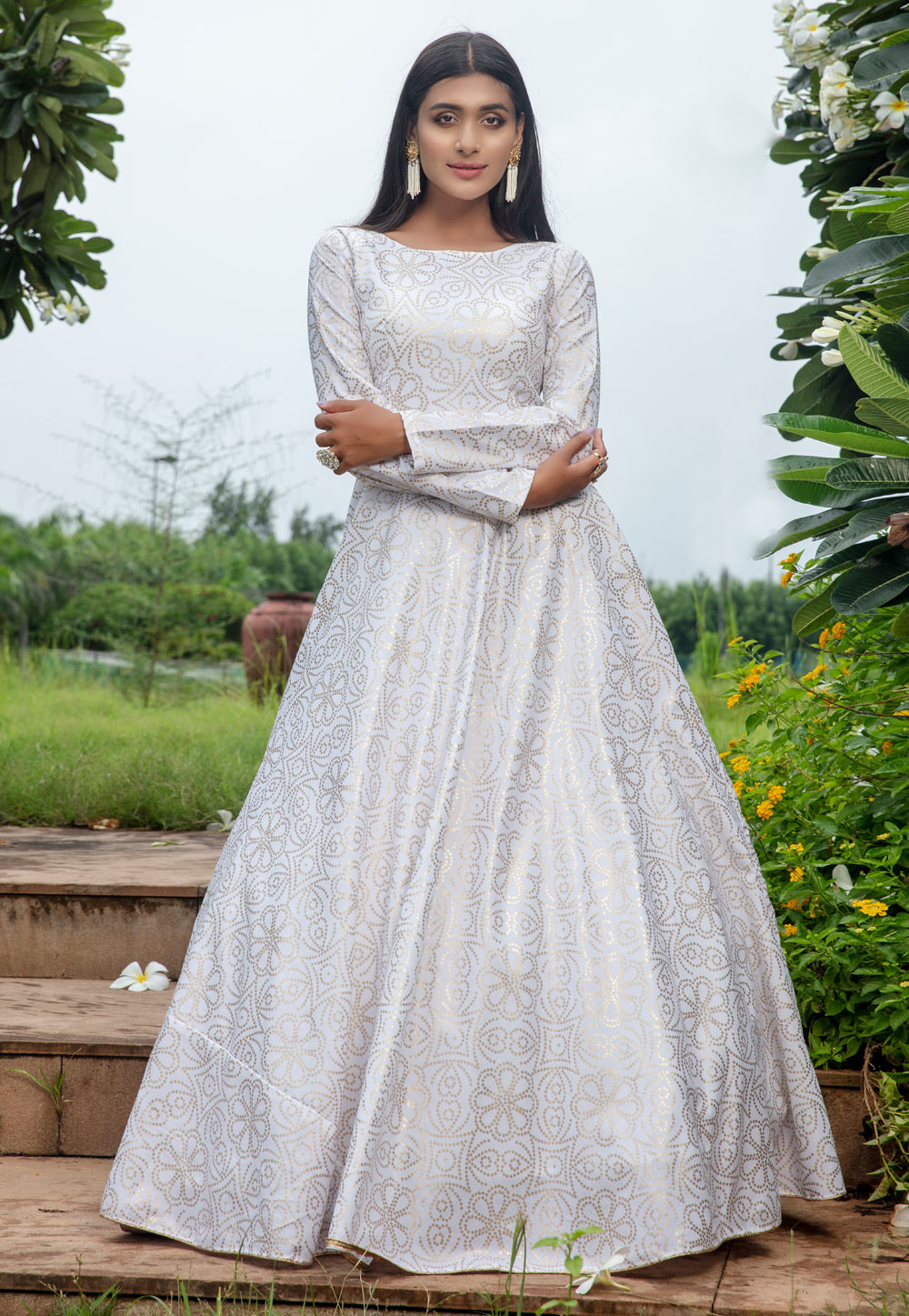 White Cotton Party Wear Gown 210325