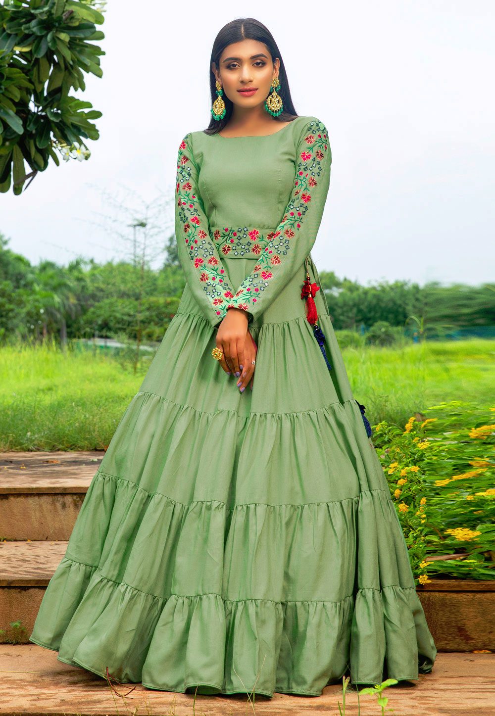 Pista Green Cotton Party Wear Gown 210329