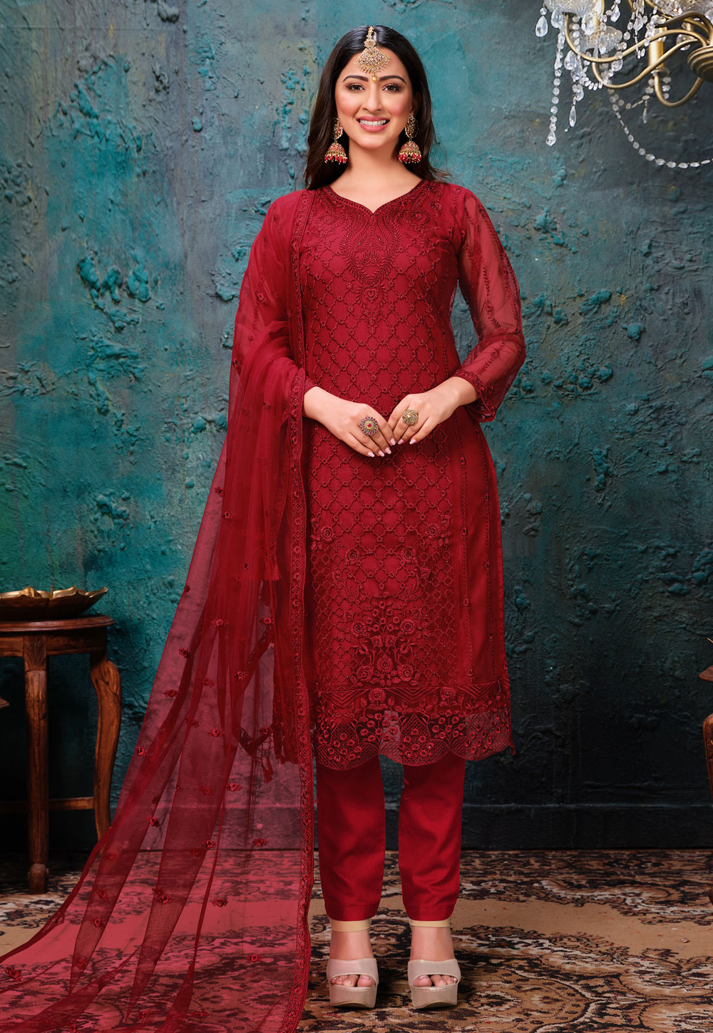 Red Net Embroidered Pant Style Suit 216890