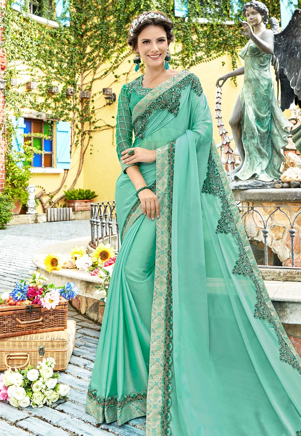 Light Green Georgette Saree With Blouse 204596