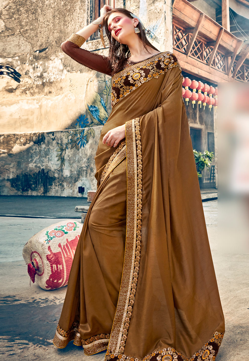 Brown Georgette Saree With Blouse 196815