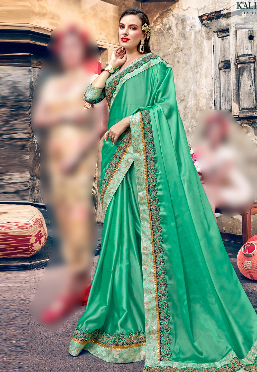 Light Green Georgette Festival Wear Saree 196816