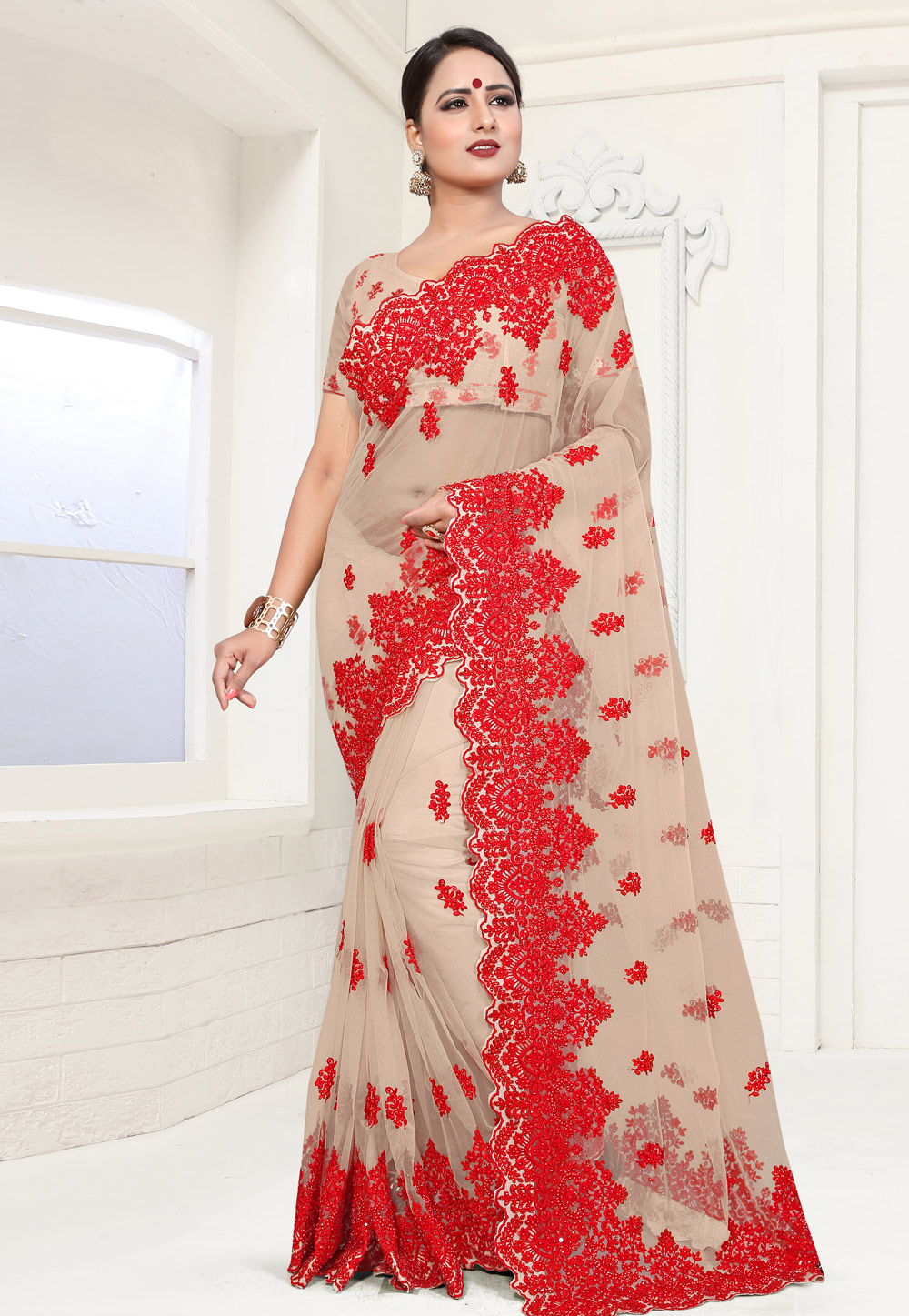 Beige Net Saree With Blouse 186027