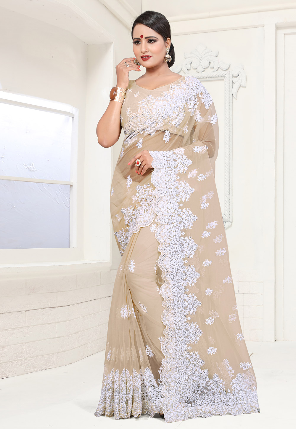 Beige Net Saree With Blouse 186029