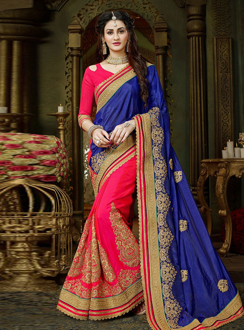 Blue Georgette Half and Half Saree 146190