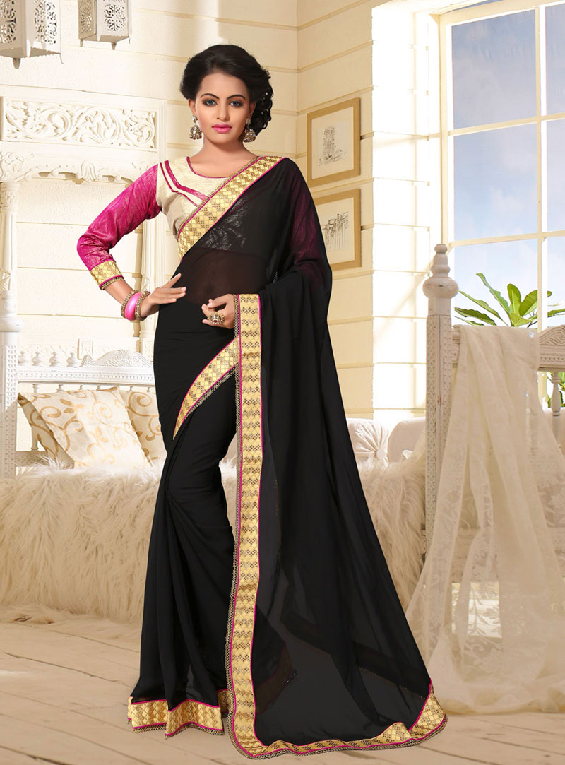 Black Georgette Saree With Blouse 76783