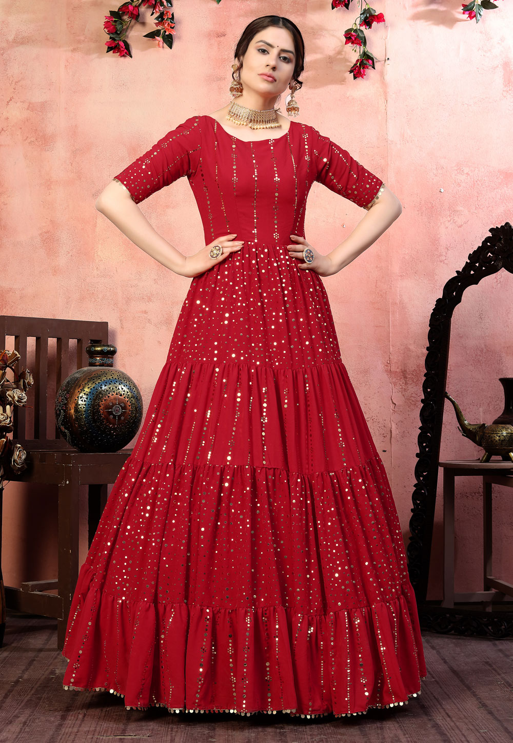 Red Georgette Party Wear Frilled Gown 219184