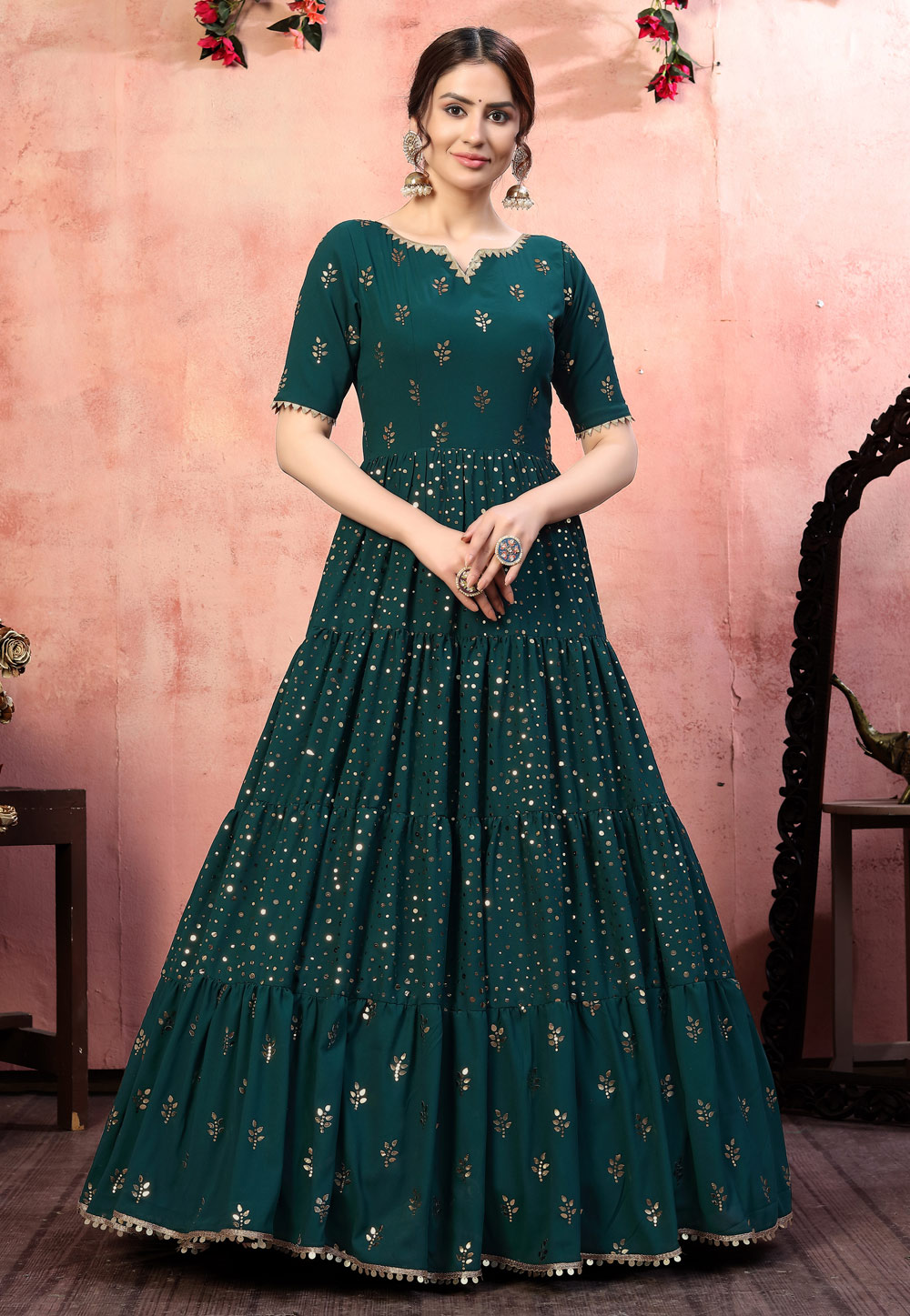 Teal Georgette Party Wear Gown 219186