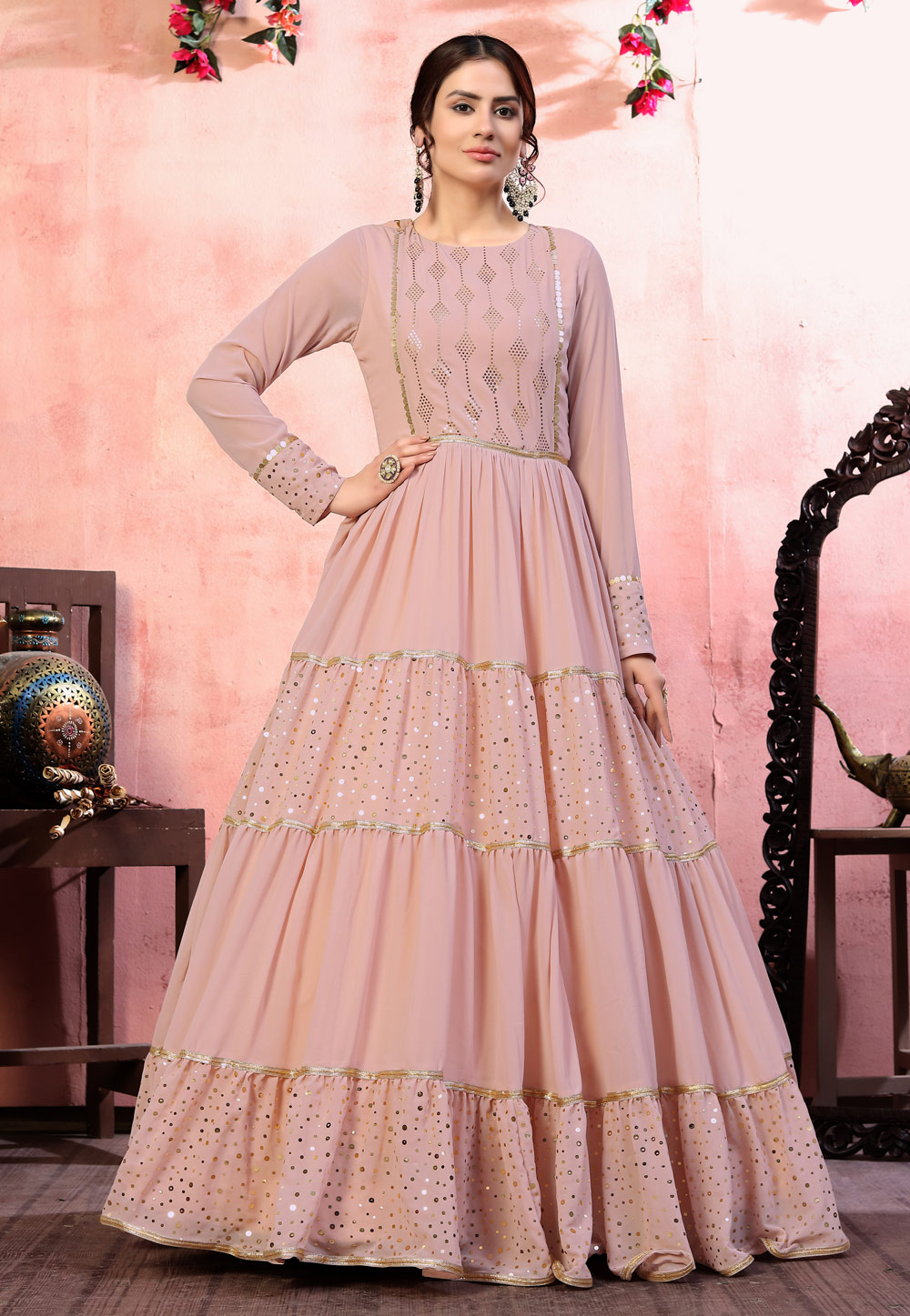 Pink Georgette Party Wear Gown 219188
