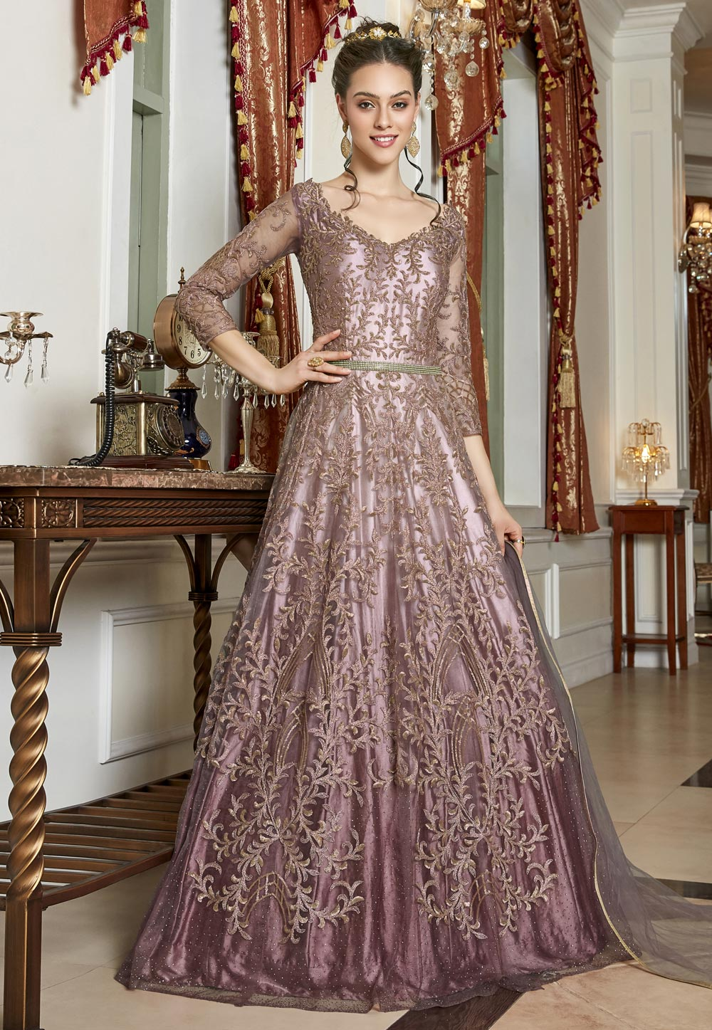 Shaded Pink Net Embroidered Abaya Style Anarkali Suit 202270