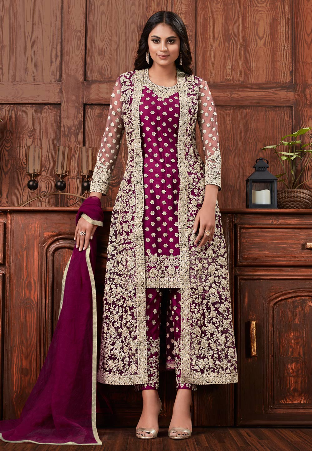 Magenta Net Pant Style Suit With Jacket 205527