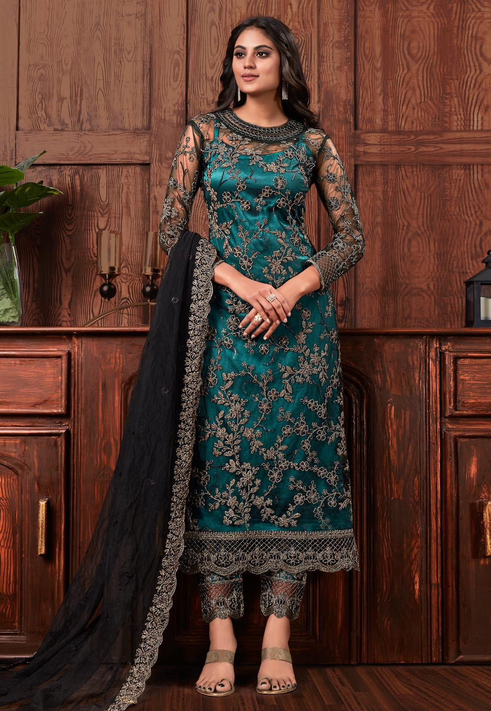 Teal Net Pant Style Suit 205528