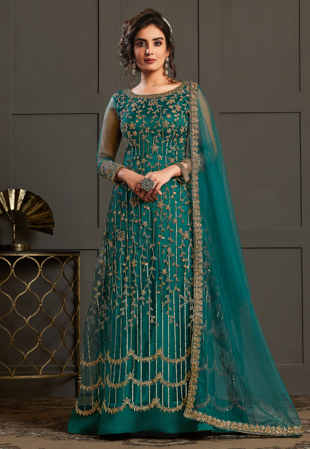 Teal Net Embroidered Abaya Style Anarkali Suit 215841
