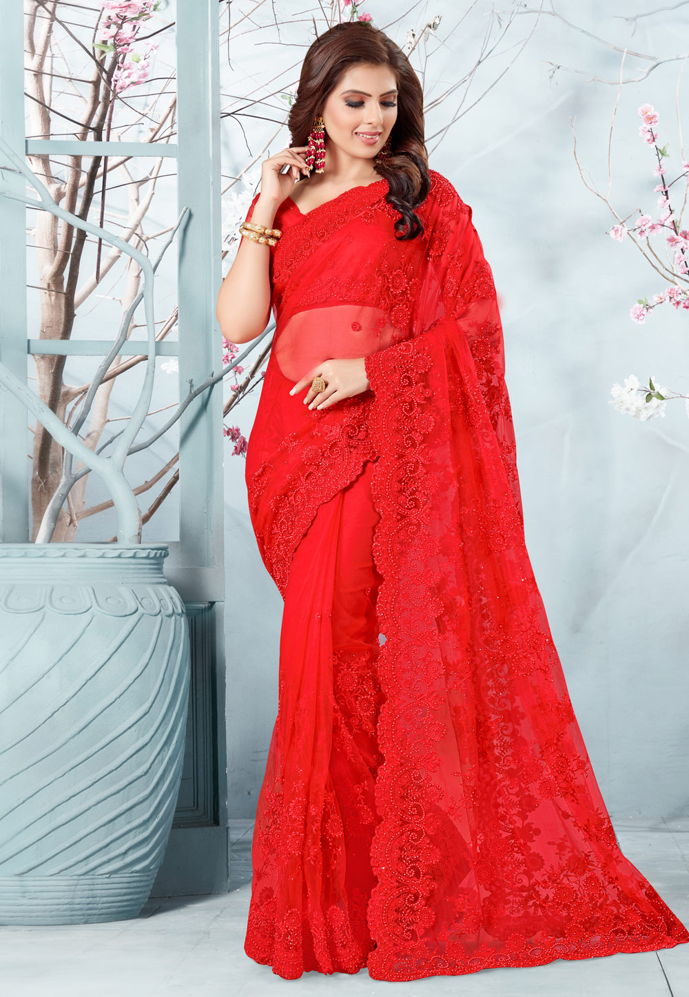 Red Net Saree With Blouse 186953