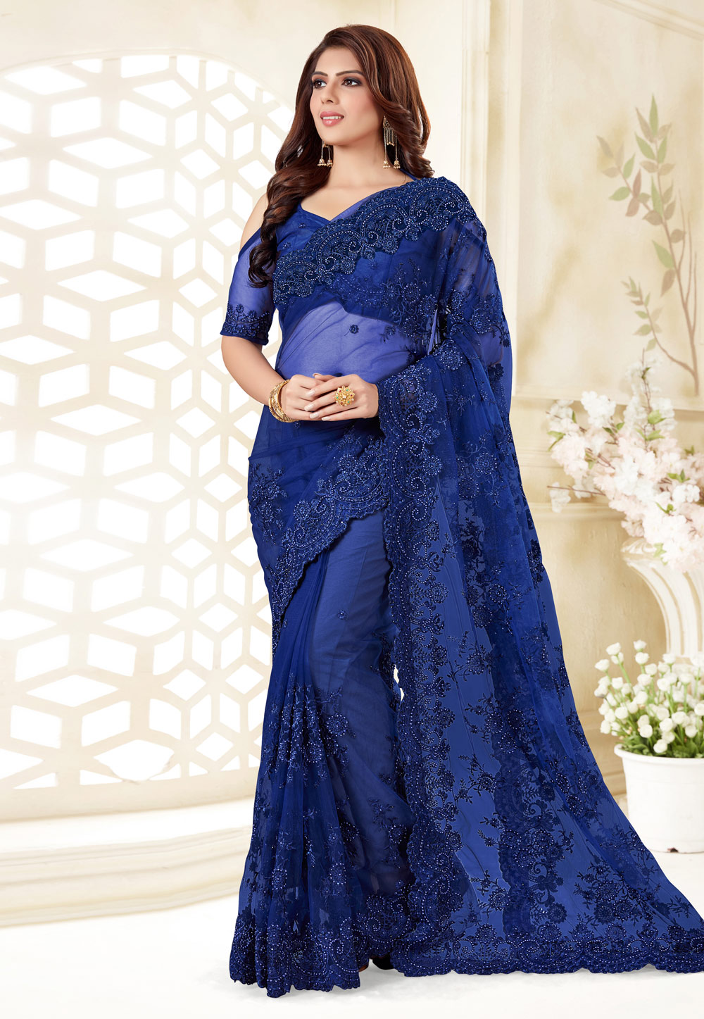Blue Net Festival Wear Saree 186956