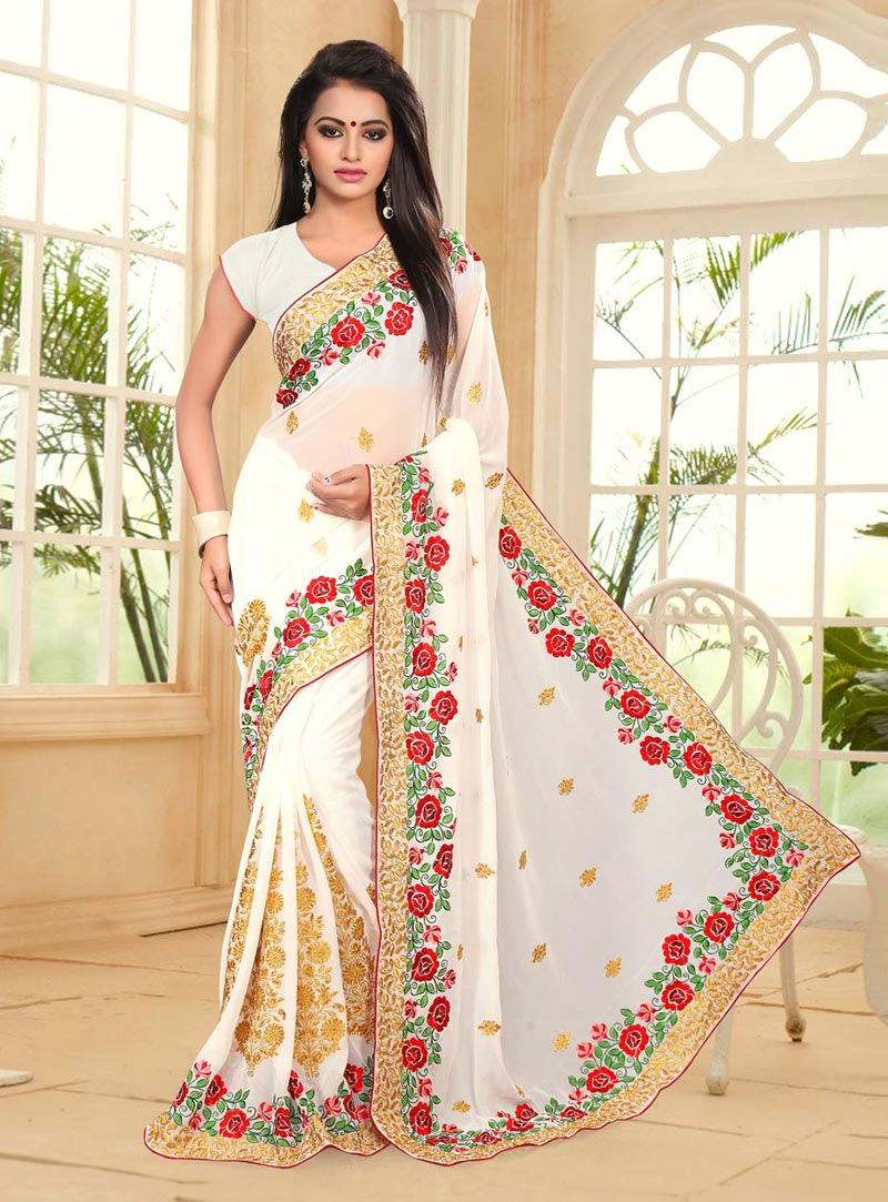 Off White Georgette Embroidery Work Saree 77791