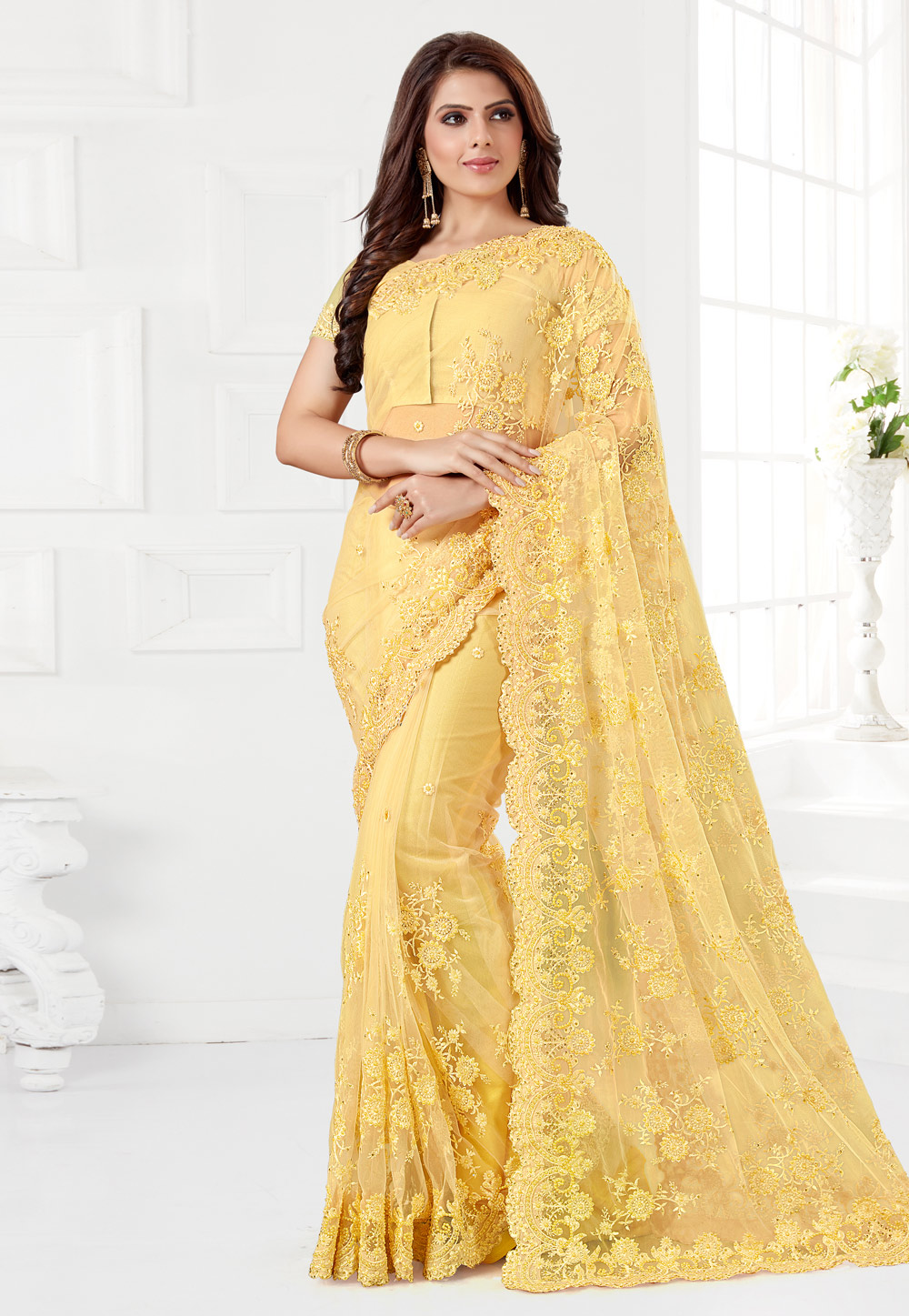 Yellow Net Saree With Blouse 186959