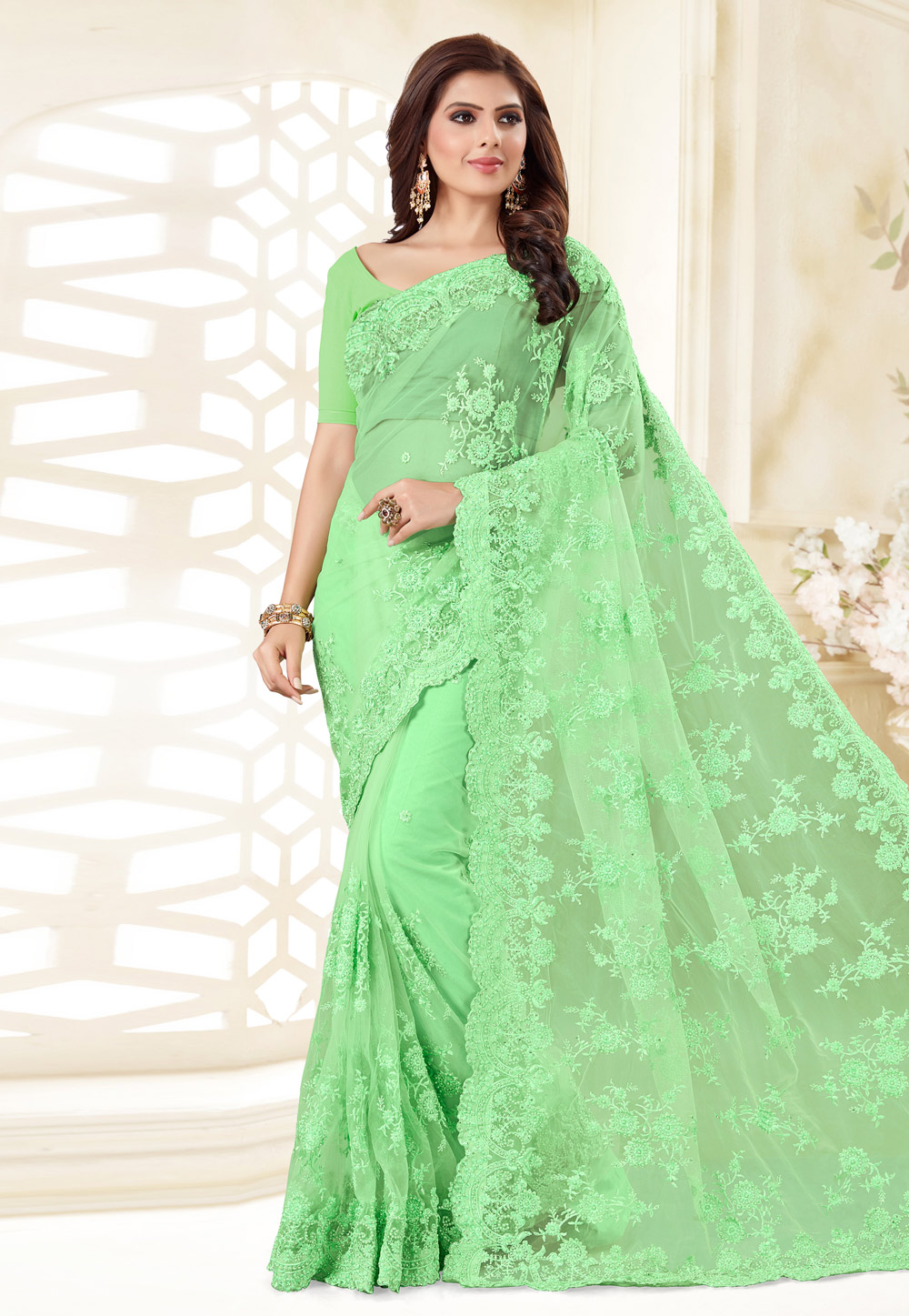 Light Green Net Saree With Blouse 186961