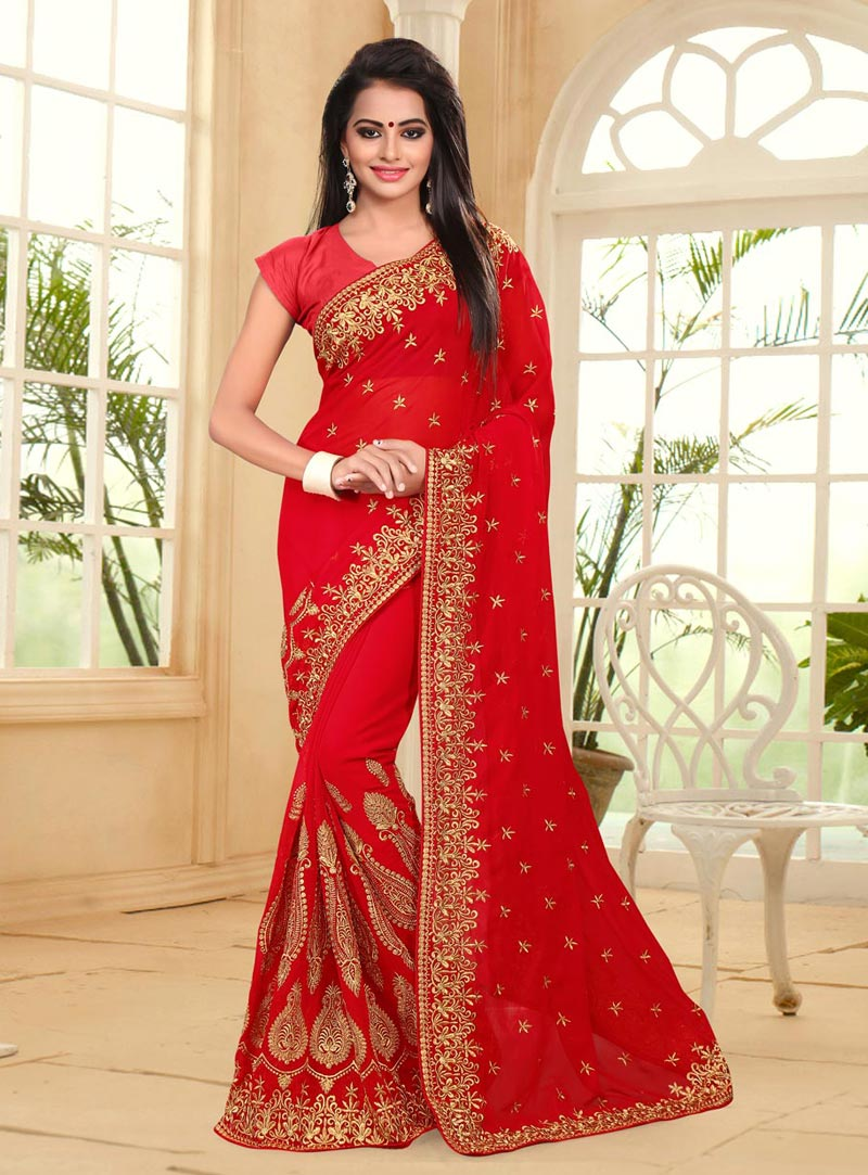 Red Georgette Embroidery Work Saree 77796