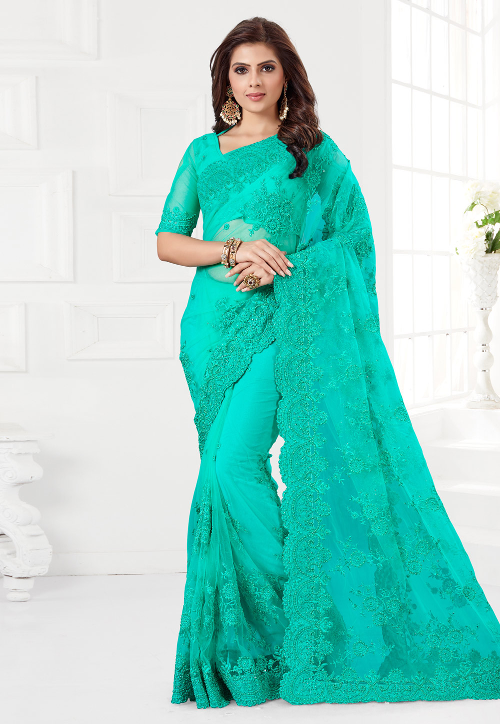 Turquoise Net Saree With Blouse 186963