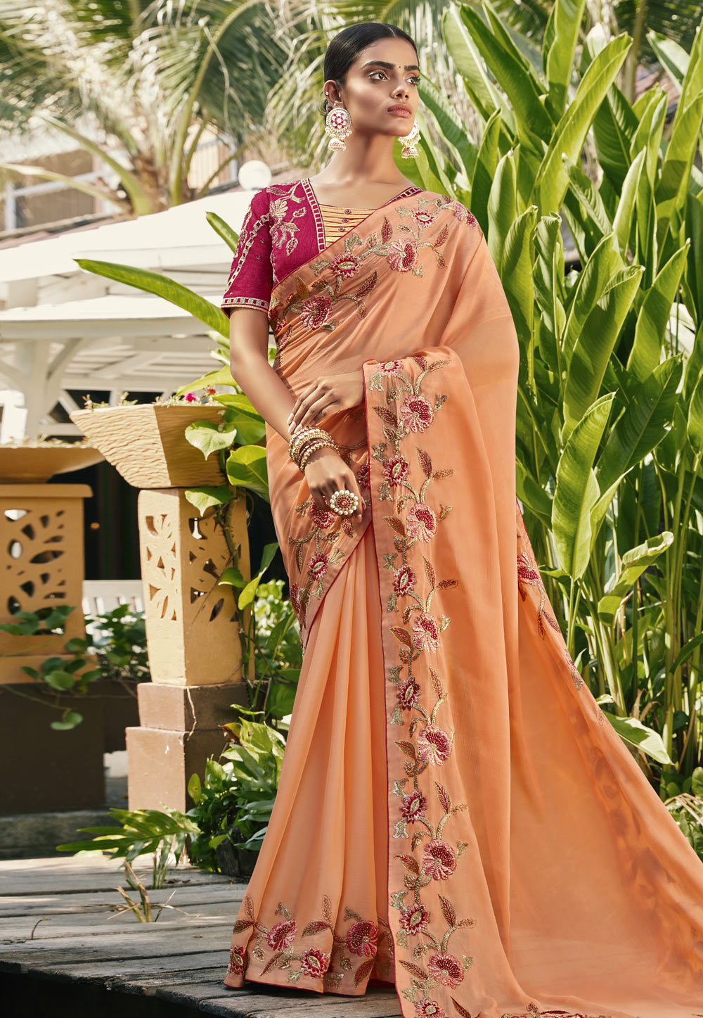 Peach Silk Party Wear Saree 196709