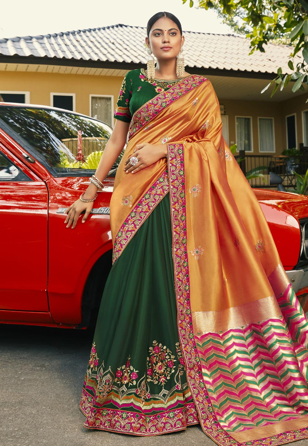 Orange Jacquard Half and Half Saree 196712