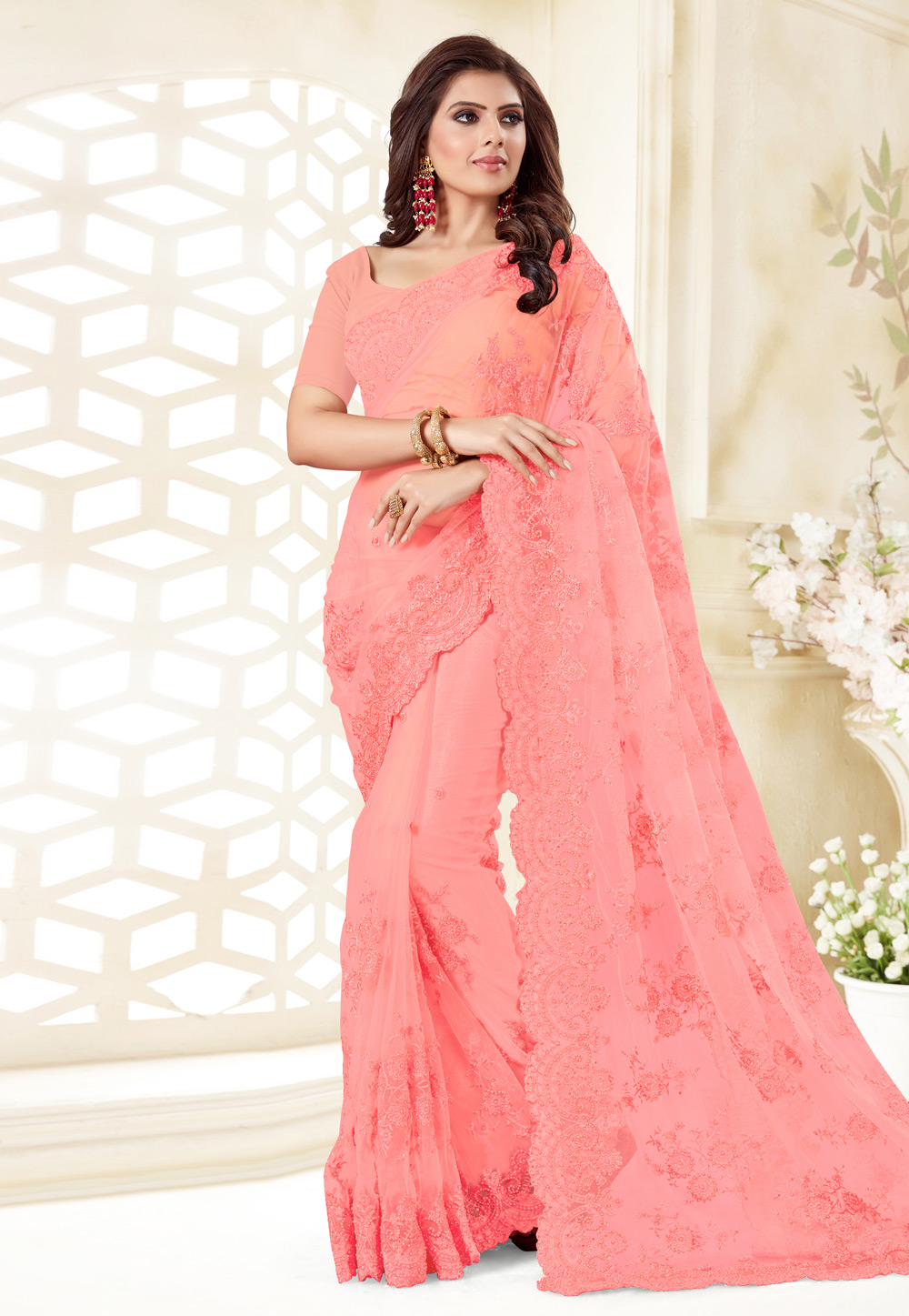 Pink Net Saree With Blouse 186967