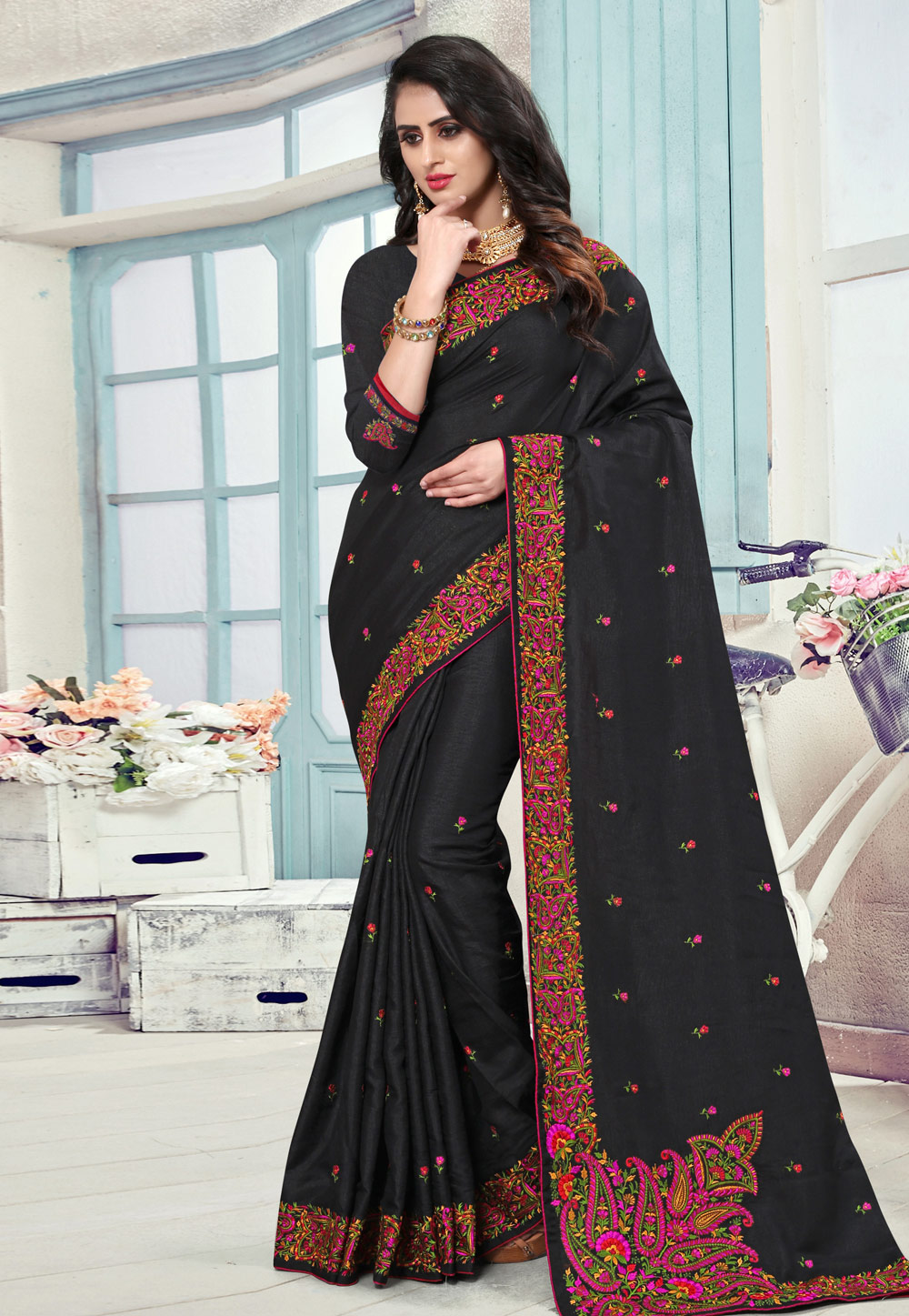 Black Manipuri Silk Festival Wear Saree 190776