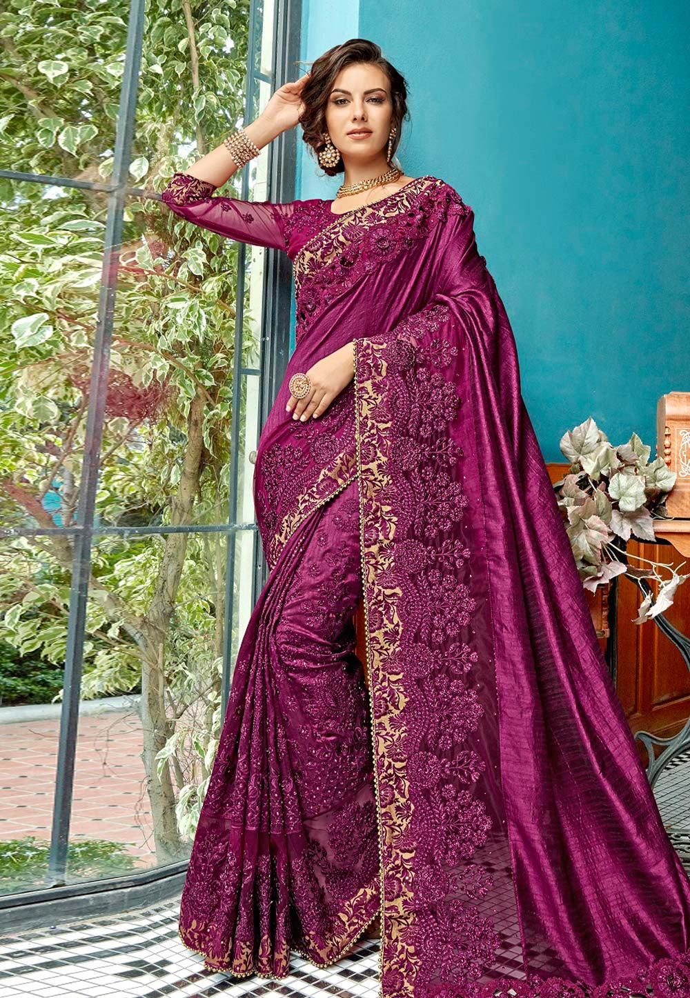Purple Georgette Saree With Blouse 182315