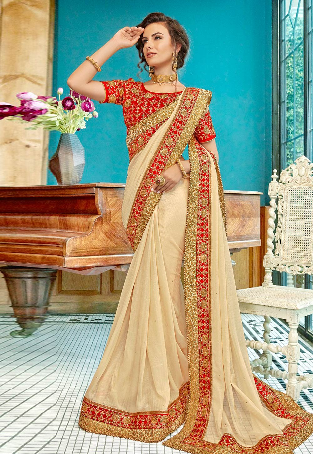 Beige Georgette Festival Wear Saree 182316