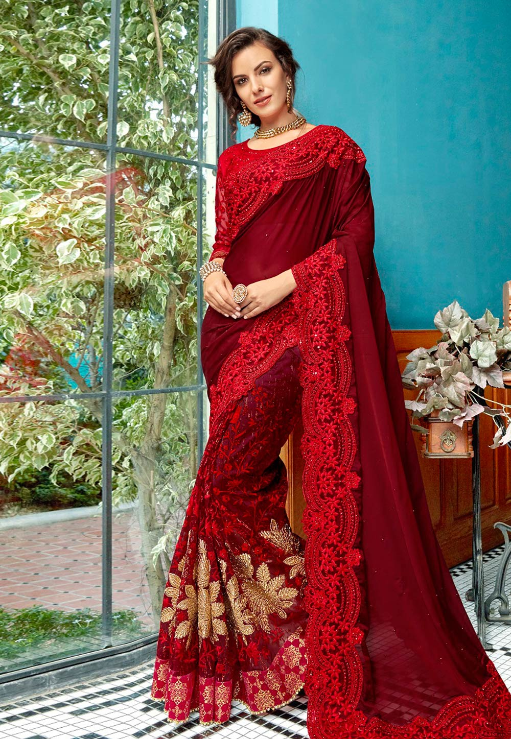Maroon Georgette Saree With Blouse 182317