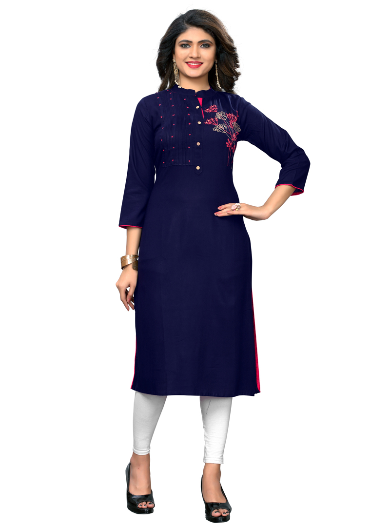 Navy Blue Rayon Readymade Tunic 153087