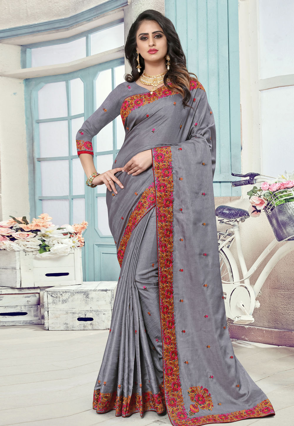 Grey Manipuri Silk Saree With Blouse 190785