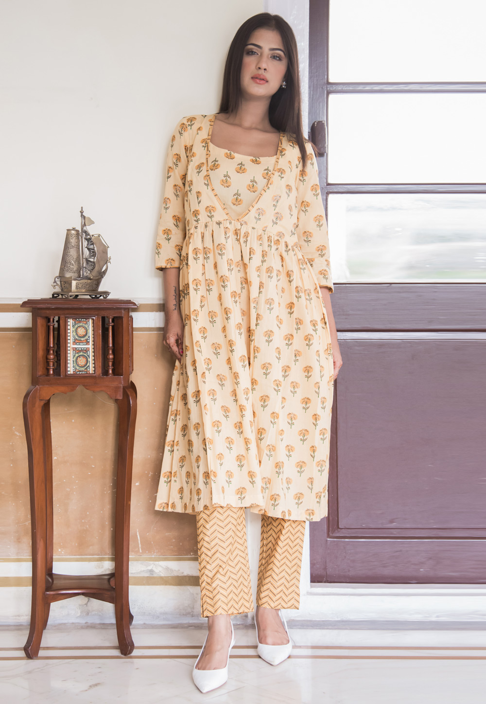Beige Cotton Readymade Pant Style Suit 183315