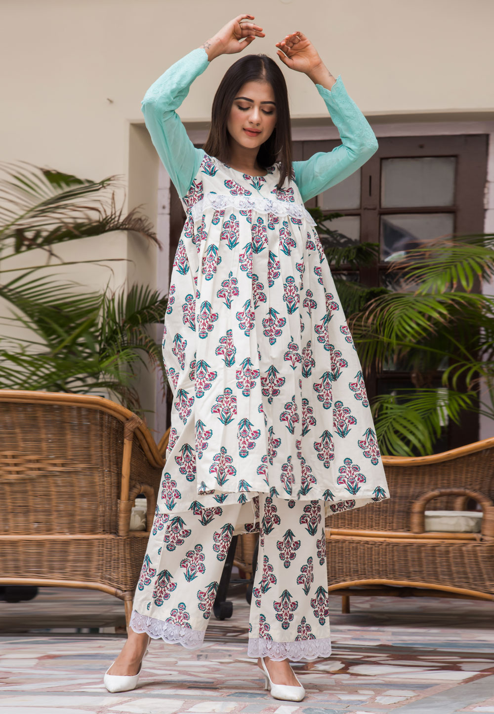 Off White Cotton Readymade Palazzo Suit 183319