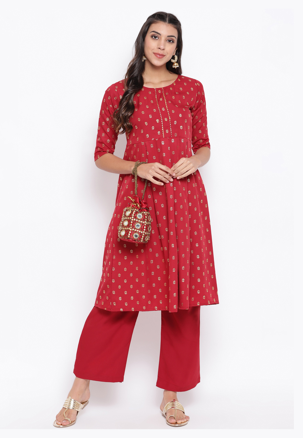 Red Crepe Tunic 219395