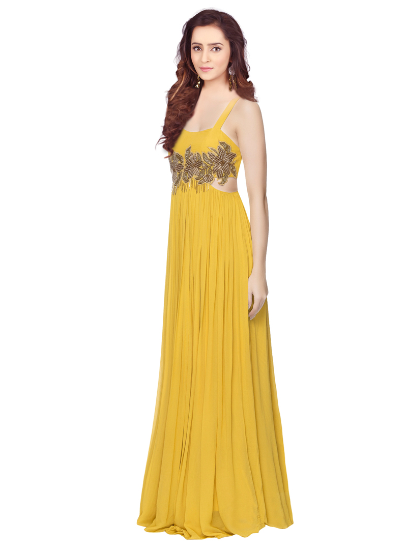 Yellow Georgette Readymade Gown 117414