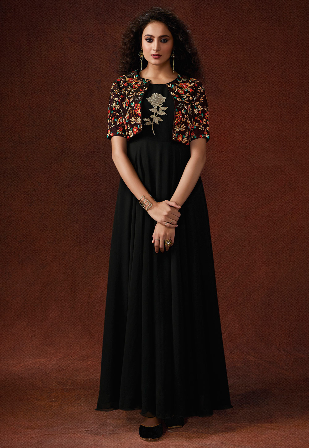 Black Georgette Readymade Gown With Jacket 192700