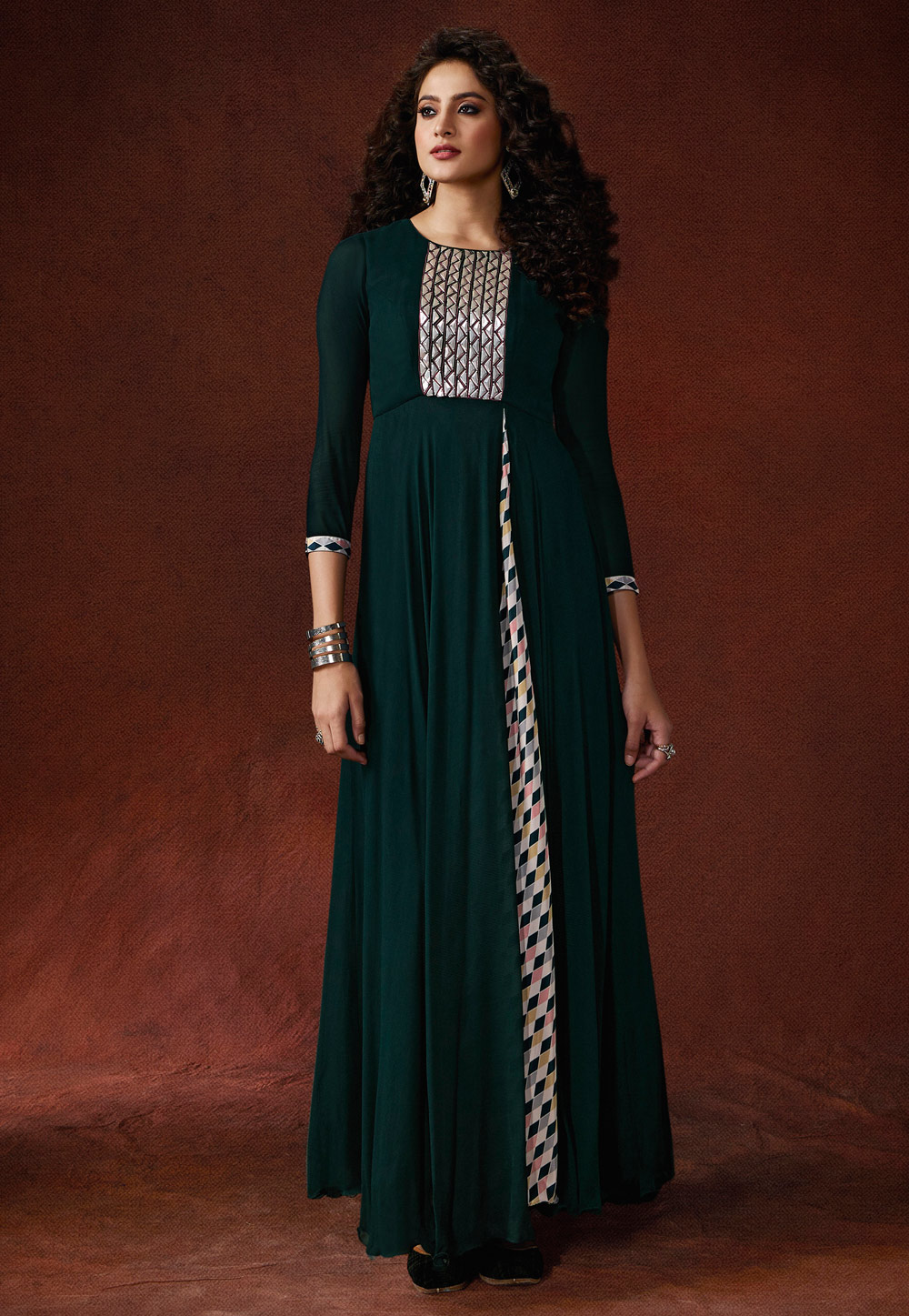 Teal Georgette Readymade Flared Gown 192702