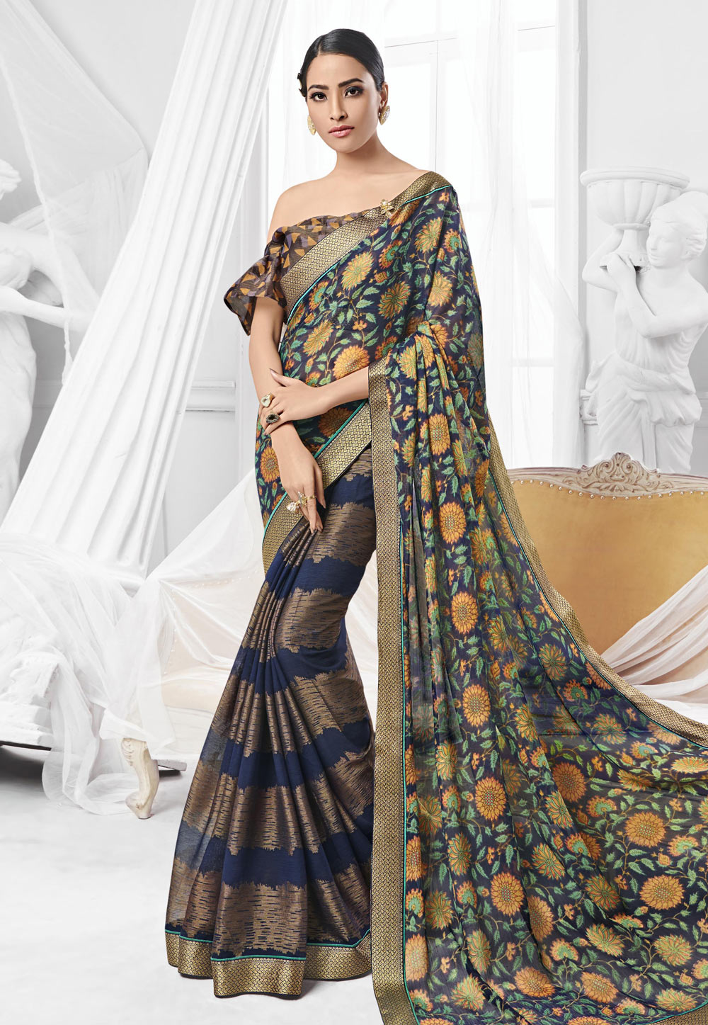 Blue Chiffon Printed Saree With Off Shoulder Blouse 154051
