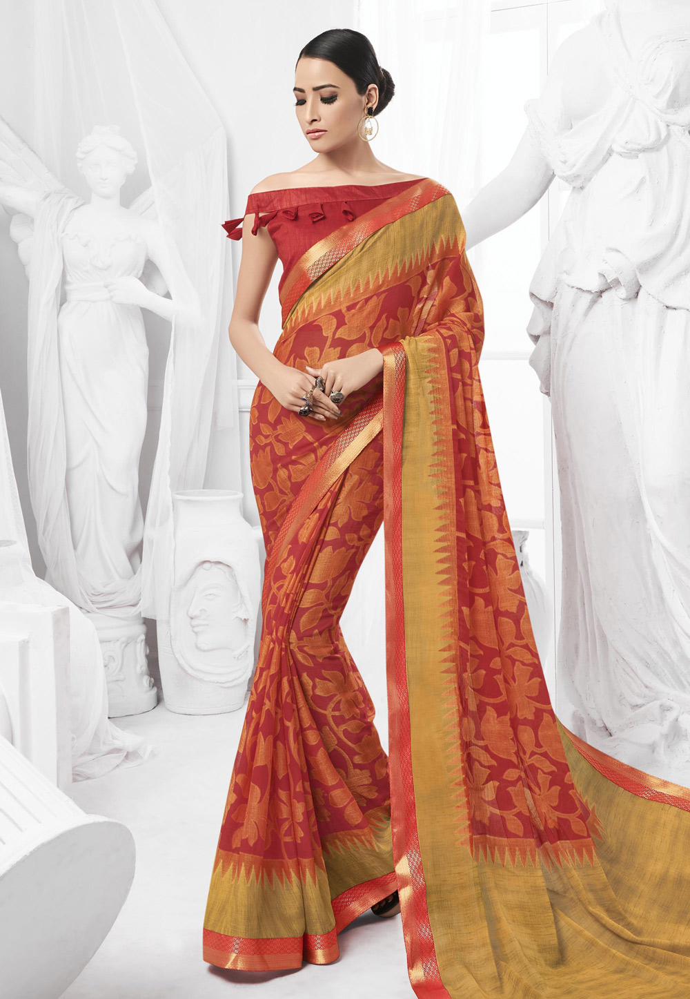 Red Chiffon Saree With Off Shoulder Blouse 154052