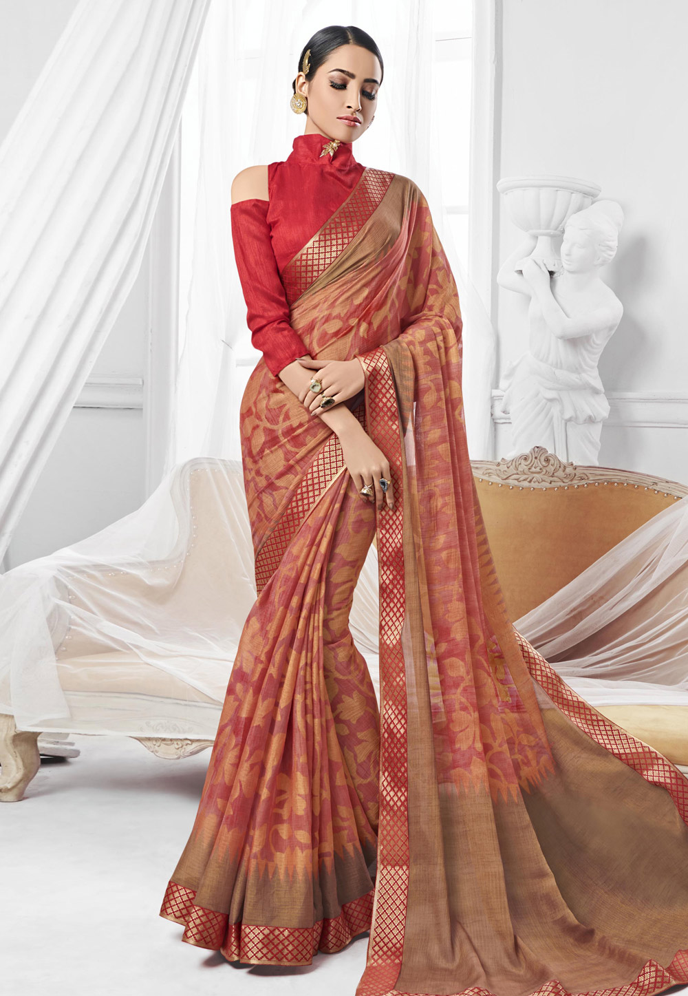 Pink Chiffon Saree With Cold Shoulder Blouse 154058