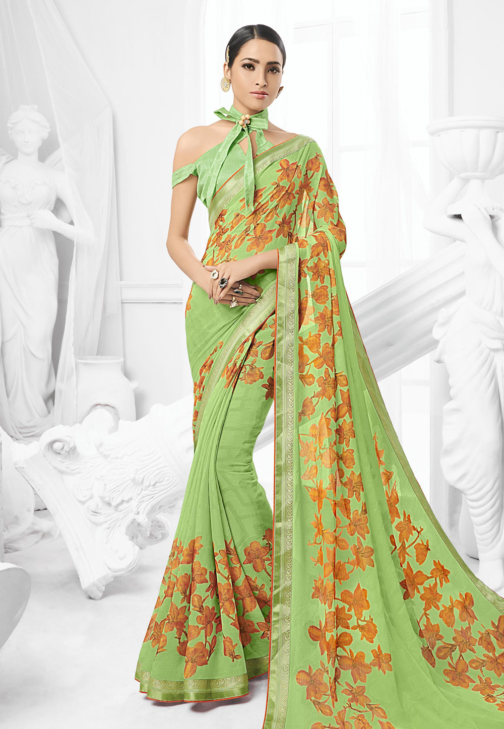 Pista Green Chiffon Saree With Off Shoulder Blouse 154063