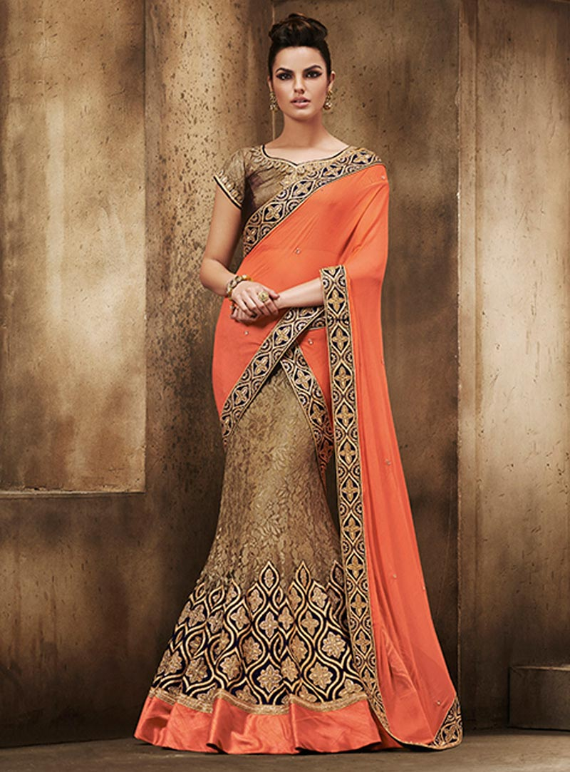 Peach Chiffon Wedding Lehenga Saree 60107