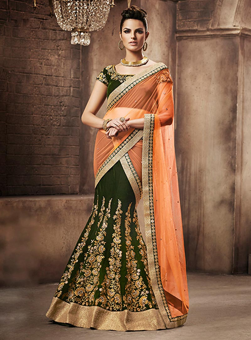 Orange Net Wedding Lehenga Saree 60117