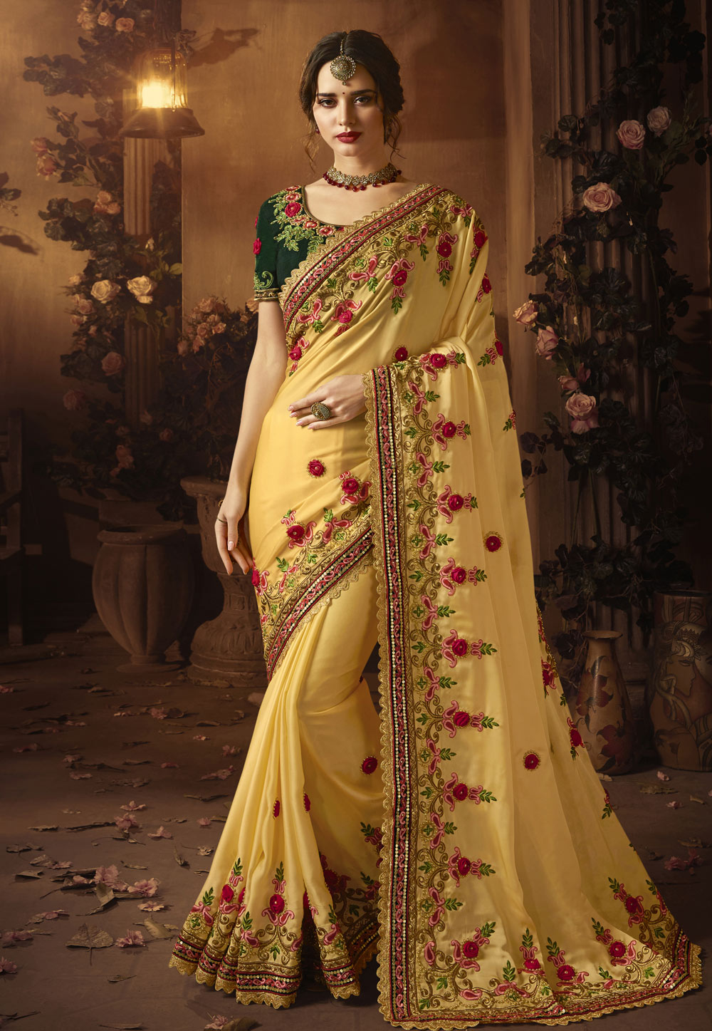 Yellow Georgette Festival Wear Saree 154260