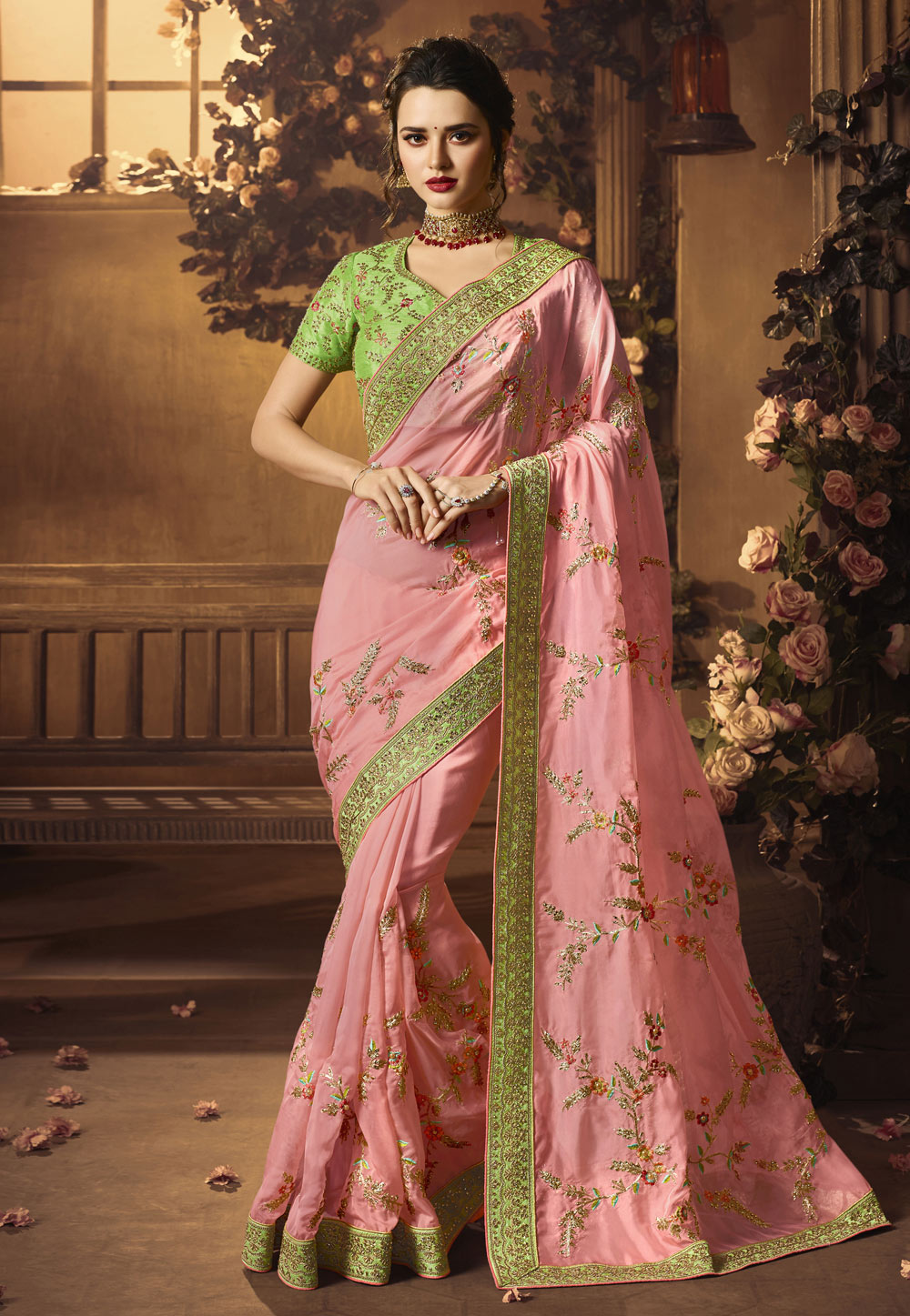 Pink Crepe Silk Saree With Blouse 154261